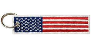 Big Rock Tags Custom Embroidered American Flag Key Chain, Red White & Blue U.S.