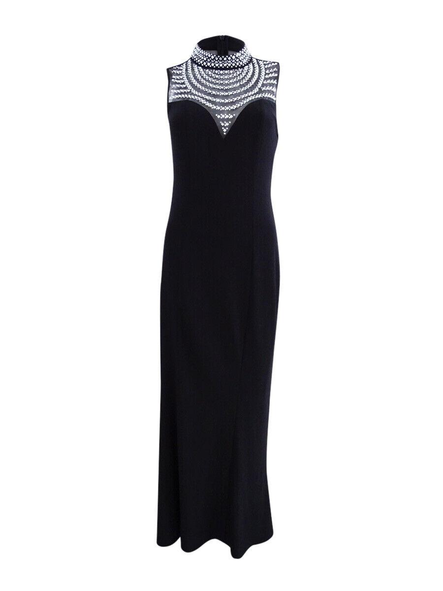 Vince Camuto Woherren Embellished Mock-Neck Gown (2, schwarz)