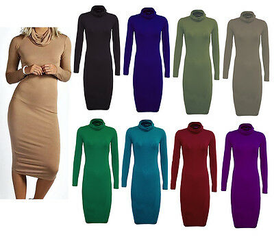 Womens Ladies Turtle Polo Neck Long Sleeve Plain Stretch Bodycon Midi Dress 8-26