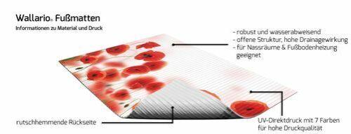 Wallario Duschmatte 70 x 50 cm Leuchtende Mohnblumen Rote Mohnblumenblüten Rot