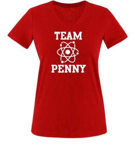 Damen V-Neck T-Shirt Gr XS bis XXL TEAM PENNY Einfarbig Big Bang Theory