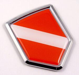 Diver Dive flag Chrome Emblem Screw On car License plate Decal badge