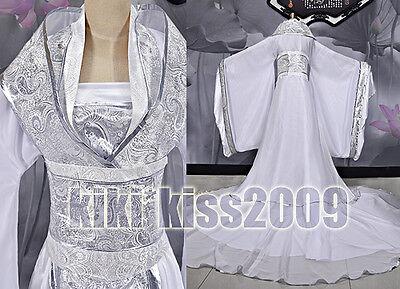 China Kimono Fairy Girl's Sliver&White Dress Cosplay Custom-Made Han Fu/wedding