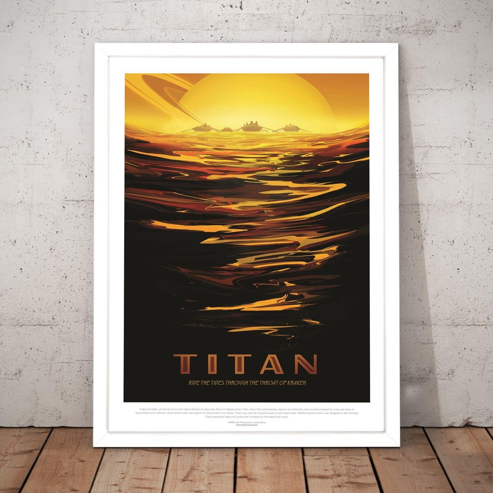 NASA Poster Titan Space Explorer Home Decor Wall Art Print - A3 A2 A1 A0 Framed