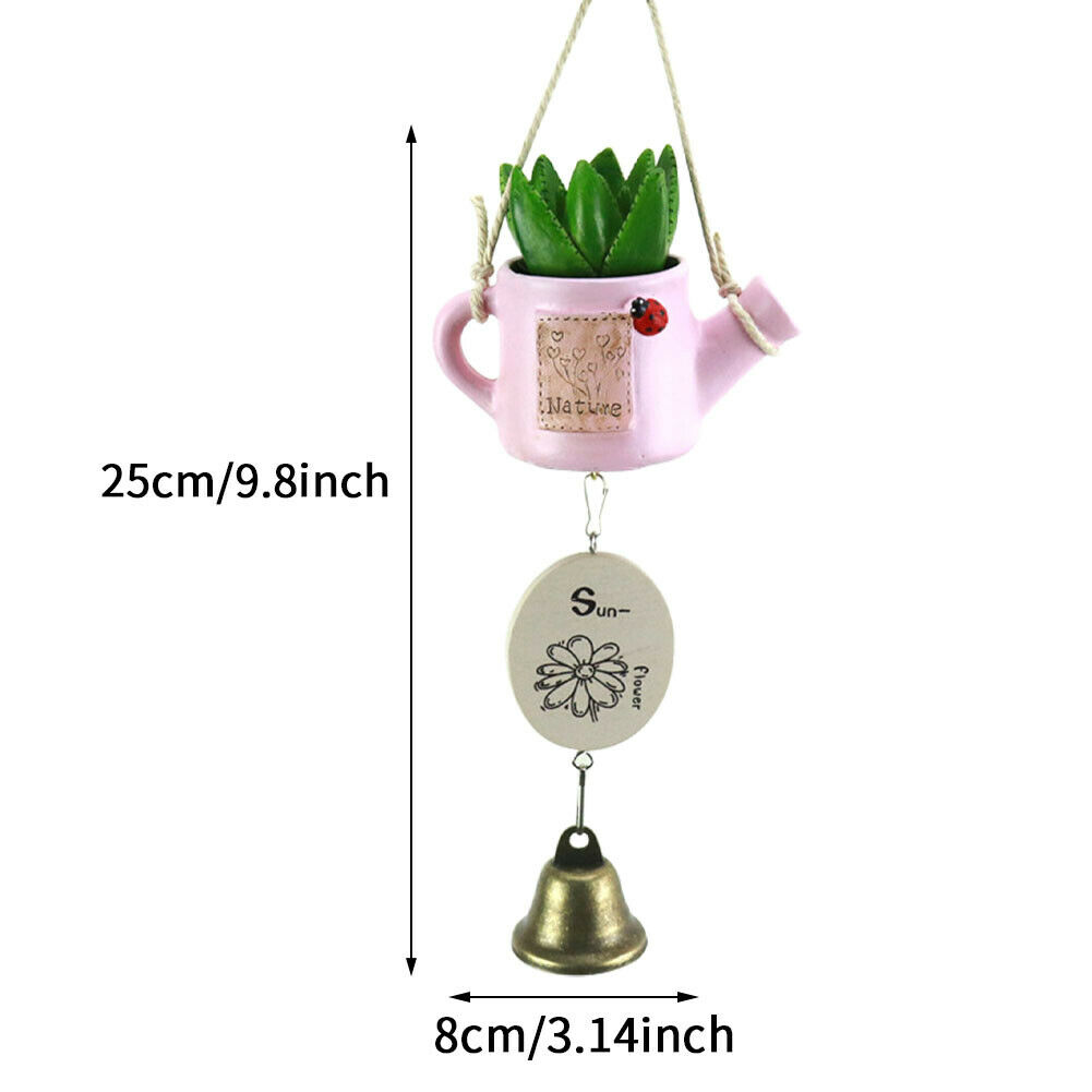 Plant Small Resin Craft Succulent Wind Chime Outdoor Garden Hanging Decor Home