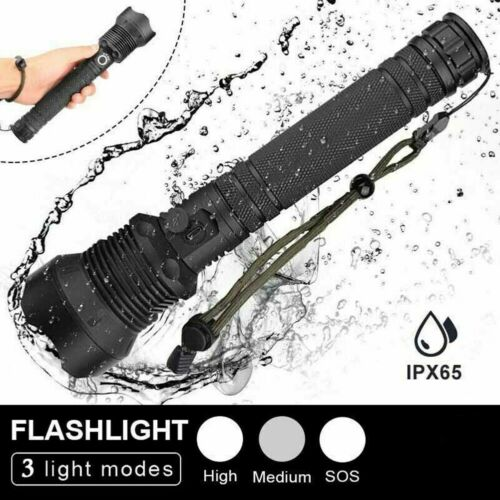 Details about  /Most powerful LED Flashlight 350000 lumens XHP70  USB Rechargeable Zoom Torch TM