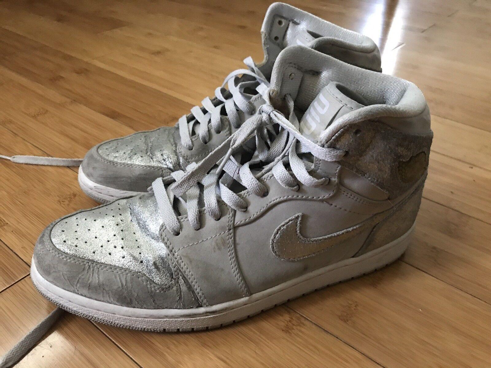 Nike Air Jordan 1 I Retro Hi Silver 25th Anniversary 2009 Mens Comfortable
