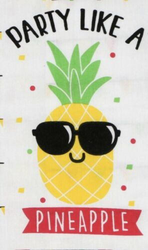 2 Flour Sack Kitchen Dish Tea Towels Set PARTY LIKE A PINEAPPLE Summer Fun