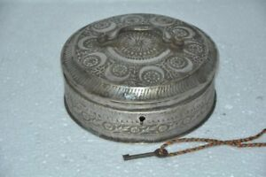 Old-Brass-Inlay-Engraved-Unique-Shape-Round-Jewellery-Box-Rich-Patina