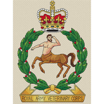 "6x8/"", 15x20cm,kit or chart Royal Army Veterinary Corps Cross Stitch Design"