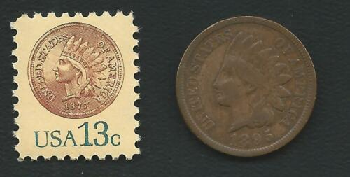 Experimental Midget US Stamp Features Key Date 1877 Indian Head Penny Cent Coin
