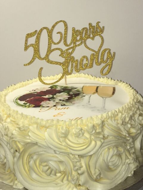 Sparkling Glitter 50 Years Strong Golden Wedding Anniversary Cake