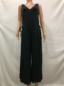 AnyBody Women/'s Regular Cozy Knit Button Front Jumpsuit Solid Black Large Size