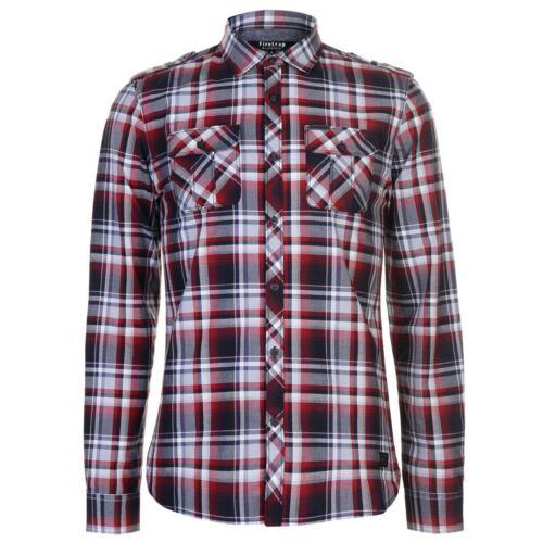 Da Uomo Firetrap Blackseal Camicia a maniche lunghe Controllato Casual Nuovo