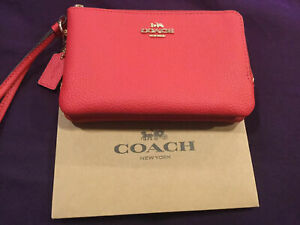 NWT-COACH-Double-Corner-Zip-Wristlet-Clutch-Wallet-Pouch-Bright-Red-Gold-F87590