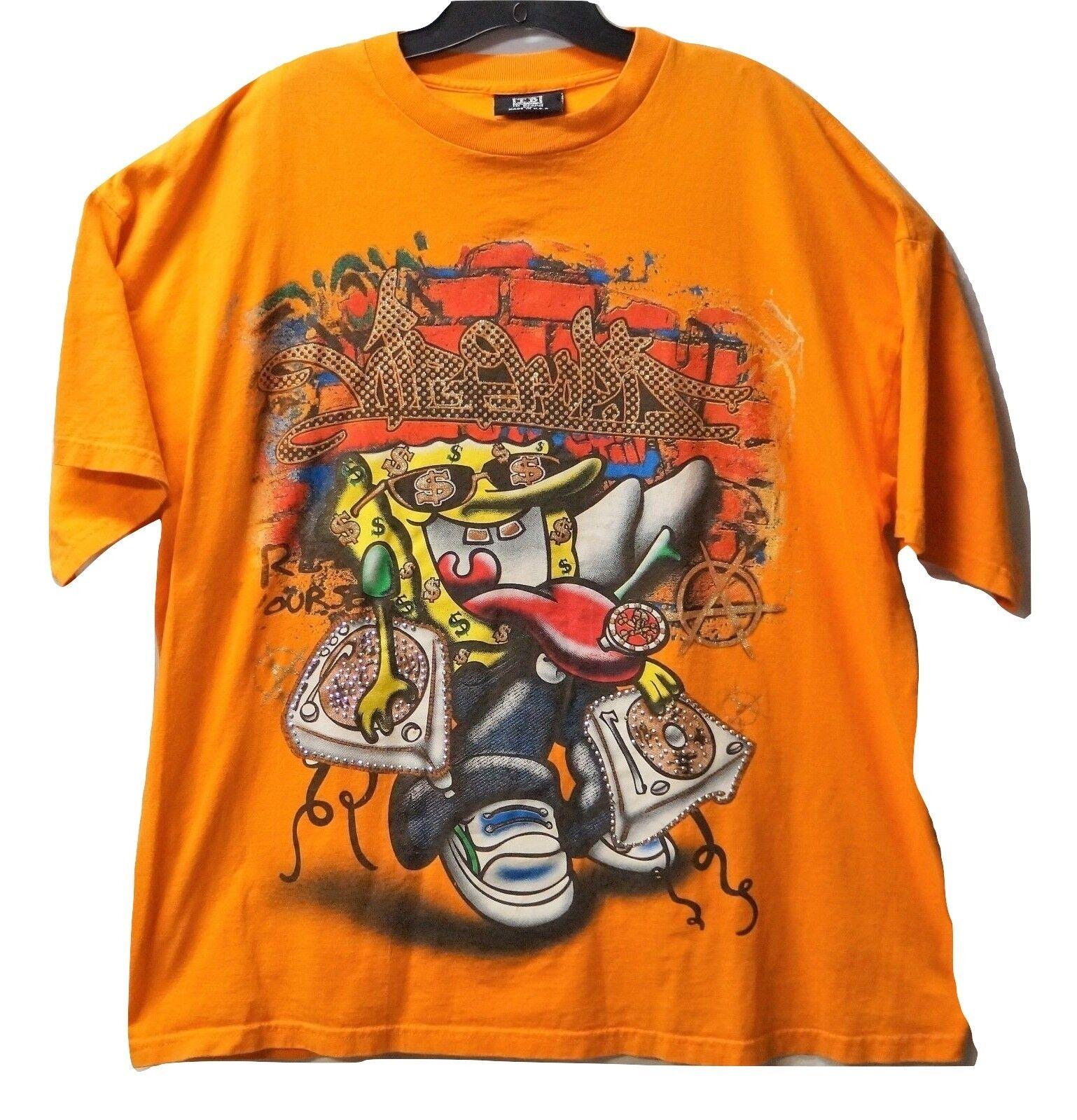 2XL Vintage 90s SPONGEBOB SQUAREPANTS Rap Hip Hop Shirt ID Brand Made In The USA