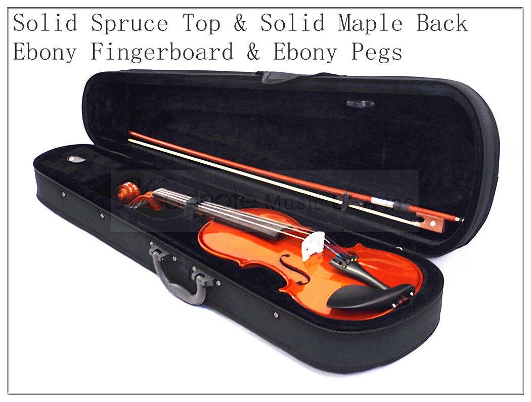 1 4 Solid Wood & Ebony Fingerboard Violin Bow Rosin Case Free Shoulder Rest-BIN