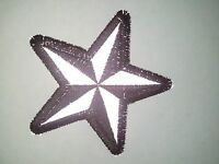 (a56) Reflective Black & Silver Star 3 Iron On Patch (1479) Biker Nautical