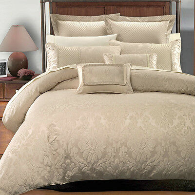 Luxury 7pc Jacquard Design Beige Duvet Cover Bedding Set AND Pillows ALL SIZES