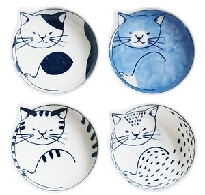 Japanese-traditional-Hasami-yaki-Cat-Dish-Bowl-Set-of-4-wooden-box-F-S-Tracking