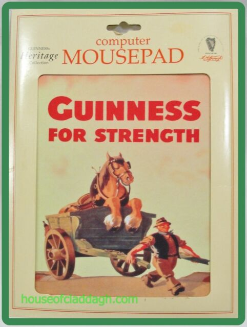 GUINNESS Heritage Collection Computer Mouse Pad Farmer Horse Cart Ireland Made