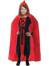 """Child Red 35"""" Hooded Cape Outfit Fancy Dress Costume Halloween Vampiress Kids"""