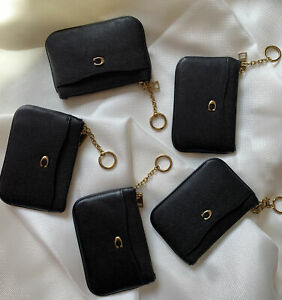 New-Coach-68334-Leather-Key-Ring-Zip-Coin-Wallet-Card-Case-Black