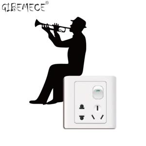 Trumpet Wall Decal Music Wall Art Music Silhouette Light Switch Sticker