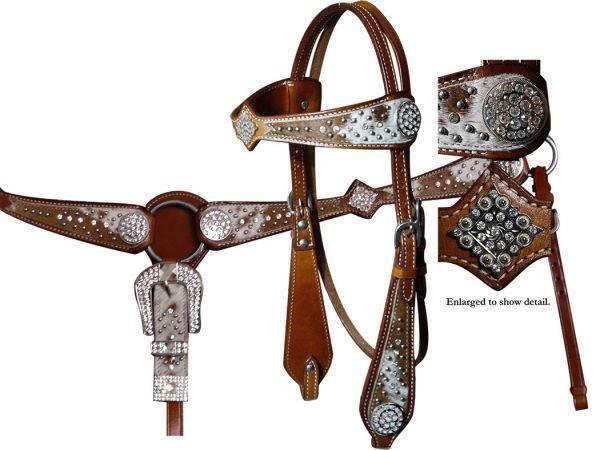 Showman Medio De Aceite Brida & pecho collar conjunto con brillantes diamantes de imitación de cuero de vaca