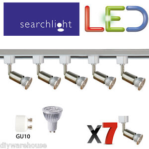 Faretti Led 6 Watt.Dettagli Su Searchlight Binario Illuminazione Faretti Spot 7 X 6 Watt Led Luce Raso Argento Mostra Il Titolo Originale