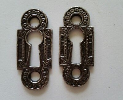 PAIR RESTORED DECORATIVE VINTAGE VICTORIAN KEY HOLE COVERS ...