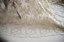 """53"""" Champagne Floral Wedding Lace Fabric Corded Embroidery Bridal Lace 1 Meter"""