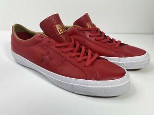 converse one star leather ox mens casual shoe red/white