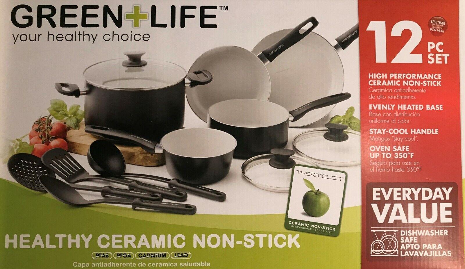 Vert + Life saine Céramique Antiadhésif 12PC ustensiles de cuisine