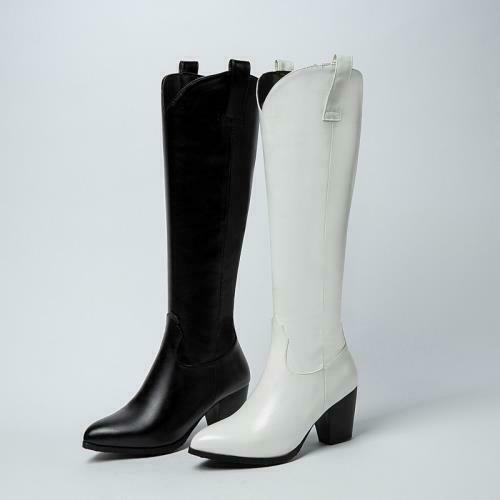 Details about  /Cowboy Women Dress Punk Pointy Toe Block Heel Knee High Knight Boots Outdoor D
