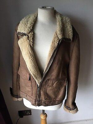 2019 Moda Vintage Vera Pelle Di Montone Aviatore Shearling Jacket L Corta-mostra Il Titolo Originale Con Il Miglior Servizio