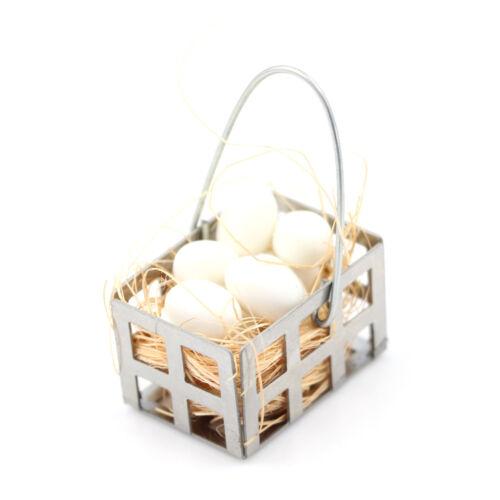1//12 Dollhouse Furniture Miniature Metal egg Basket Dolls House Kitchen Decor S6