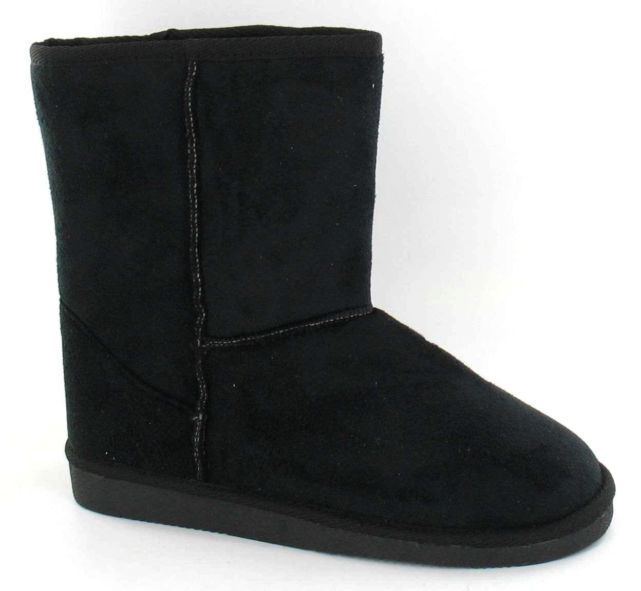 **SALE** Ladies Black Microfibre Faux Fur Lined Boots **WARM**COSY** X4002