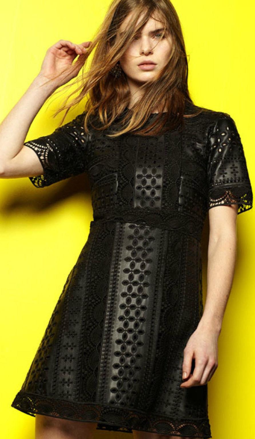 Brodé Noir Crochet En Cuir Synthétique Coupe travail Robe Par ZARA taille L
