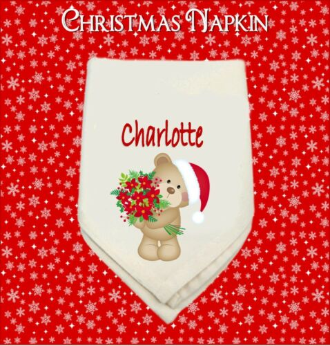 PERSONALISED WHITE TABLE NAPKIN  CHRISTMAS BEARS MUM DAD NAN SISTER GRANDMA