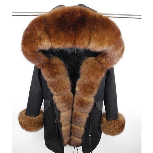 Vulpes Women/'s Gift Sable Color Real Fox Fur Collar Fur Liner Parka Hooded Coat