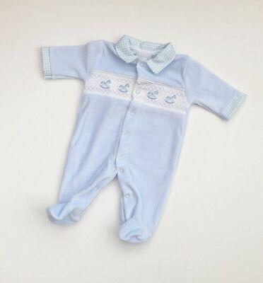 BABY BOY SMOCKED SPANISH ROMPERS BLUE BABYGROW SLEEPSUIT NEWBORN-3 MONTHS