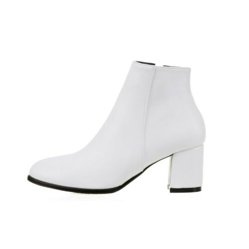 Ladies Party Shoes Synthetic Leather Med Block Heel Zip Ankle Boots AU Size b234