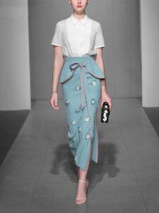 1f3bc0bd1a7 runway fashion royal wedding guest 3D beaded flower skirt and shirt ...