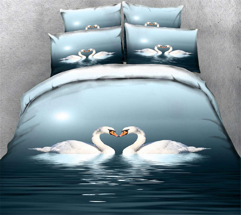 Snow Swan Lake 3D Printing Duvet Quilt Doona Covers Pillow Case Bedding Sets