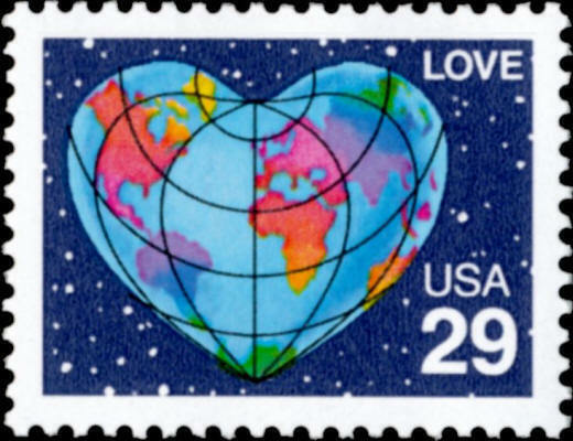 1991 29c Love, World Heart, Perf. Scott 2535 Mint F/VF