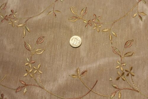 """Embroidered Faux silk light upholstery fabric  £12.99//m 1.42m//56/"""" wide"""