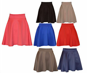 New-Womens-Ladies-Skater-Flared-Jersey-Plain-Mini-Party-Dress-Skirt-8-14-UK-Size