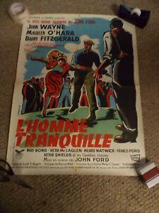 "THE QUIET MAN(1952)JOHN WAYNE ORIGINAL FRENCH POSTER 23""BY32"" NICE!"