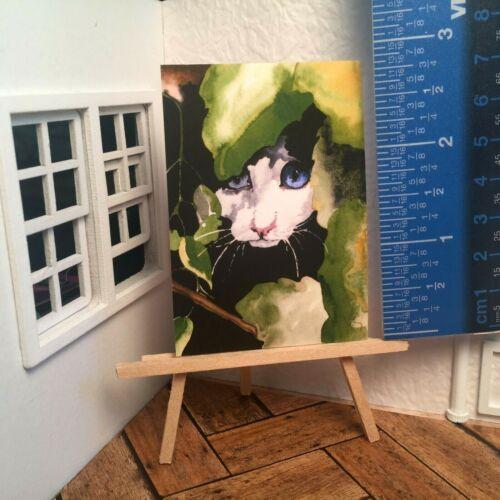 Miniature Dollhouse Room Box Wall Art Cat Magic Print Handmade